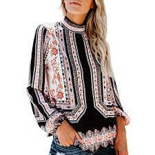 Women Blouse Casual Chiffon High Neck Boho Long ... - Amazon.com
