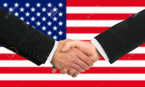 Image result for handshaking in front of usa map