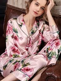 19 Momme <b>Long Floral</b> Silk Pajama Set For <b>Women</b> real 100 Ladies ...