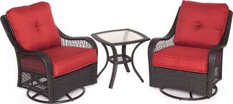 hanover orleans 3 piece outdoor bistro set with swivel glider chairs brown set patio source outdoor