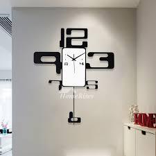 <b>Modern Minimalist Creativity</b> Black Art Deco <b>Wall</b> Clock Pendulum