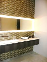 exclusive powder room interior decoration for master bathroom with bright led lighted wall mirror and rectangular bathroom lighting ideas dress mirror