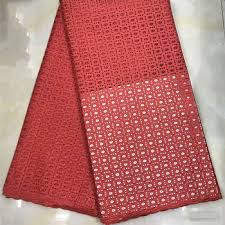 <b>Beautifical</b> African Swiss Cotton <b>Lace</b> Plain Red Voile <b>Fabric Dry</b> ...