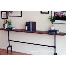 150cm <b>Retro Loft</b> Style <b>Industrial</b> Pipe <b>Natural</b> Hard Wood Console ...