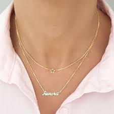 <b>Personalized</b> Double Pendant <b>Necklace</b> Custom <b>Star Moon</b> Crown ...