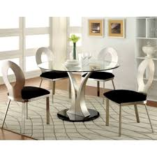 nora dining white piece furniture of america sculpture iii contemporary  piece round dining se