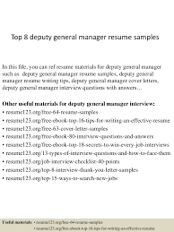 top8deputygeneralmanagerresumesamples 150410091029 conversion gate01 thumbnail 4 jpg cb 1428675081
