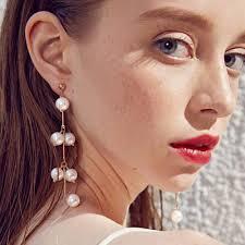 <b>Fashion Women Pearl</b> Earrings Drop Dangle Long <b>Tassel</b> Earring ...