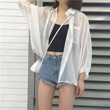 Lapel <b>Chiffon Shirt Thin</b> Loose Cardigan | Shopee Singapore