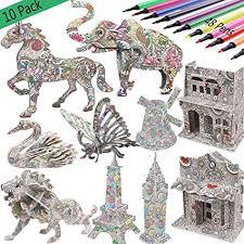 3D Coloring Puzzle Set,10 Pack Puzzles with 48 Pen ... - Amazon.com