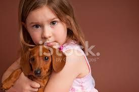Маленькая Девочка, Обнимая Чистокровных Миниатюрная <b>Такса</b> ...