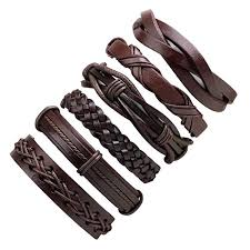 TEQIN 6 Pcs/Set Man <b>Stylish Leather</b> Wax <b>Rope Woven</b> Bracelet ...
