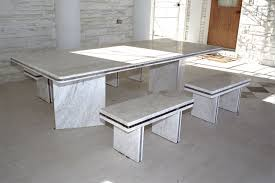 round white marble dining table: furnituremesmerizing white marble dining table sets plus small benches on concrete tiles floor marble