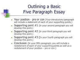 pro con essay outline   essay structureoutlining a basic five paragraph essay your position pro or con introductory