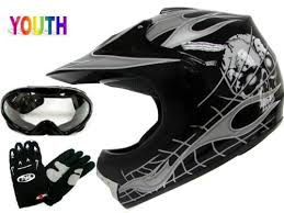 Compare Prices Youth Black Skull Flame <b>Dirt Bike Motocross</b> Off ...
