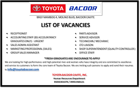 icares toyota bacoor vacancies