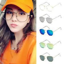 <b>New</b> Women's Retro <b>Polygon</b> Metal Frame <b>Sunglasses</b> Vintage ...