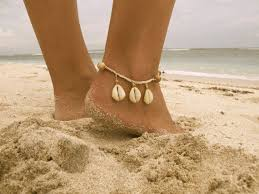 Driftwood <b>Cowrie Anklet</b>, Wooden Beaded with <b>Cowrie Shells</b> and ...