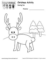Christmas Coloring Worksheet - Free Kindergarten Holiday Worksheet ...Kindergarten Christmas Coloring Worksheet Printable