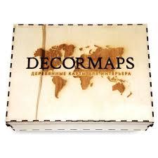 Панно Decormaps <b>Деревянная карта мира</b>, разноцветная