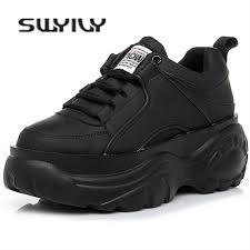 <b>SWYIVY</b> Men's Sneakers White Chunky Sneakers Lace Up Autnmn ...