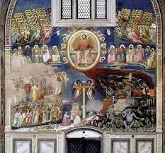 the last judgement taken from the arena chapel giotto  giotto last judgement arena chapel scrovengi chapel exit wall left and right heaven and hell righteousness and sin good and evil etc