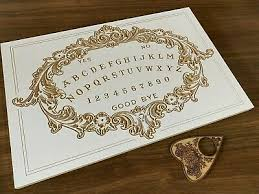 Carved White <b>Victorian</b> Wooden <b>Ouija</b> Board & Planchette ...