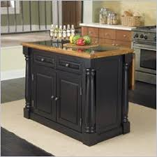 leaf kitchen cart: home styles monarch black amp distressed oak island granite top