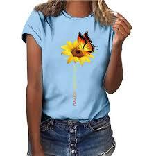Plus Size <b>Butterfly Sunflower Printing</b> T shirt Women Polyester Short ...