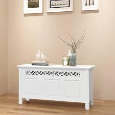 vidaXL <b>Storage Bench Baroque</b> Style MDF White - Walmart.com ...