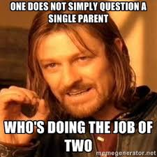 One does not simply question a single parent Who's doing the job ... via Relatably.com