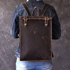 Vintage men's Biker <b>Real leather</b> Backpack <b>100</b>% Oli Genuine ...