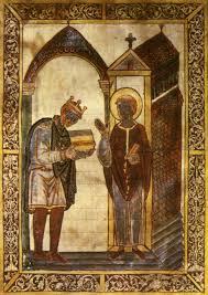 aelig thelstan aeligthelstan presenting a book to saint cuthbert
