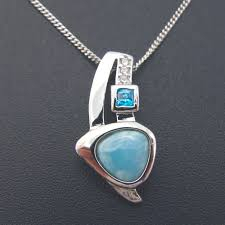 Dominican Natural Larimar Pendant <b>Solid 925</b> Sterling Silver ...