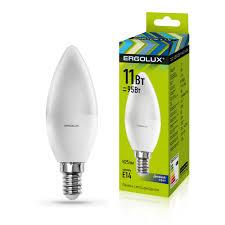 Электрическая <b>светодиодная лампа Ergolux LED</b>-C35-11W-E14 ...