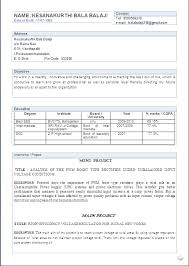 atractive resume format for a btech eee fresher freshers resume formats