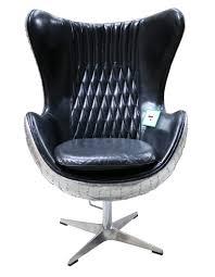 Designer Sofas4u <b>Aviator</b> Retro Swivel Egg Aluminium <b>Black</b> ...