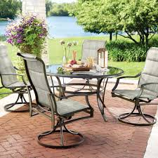 patio dining: statesville  piece padded sling patio dining set with  in glass top