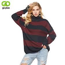 <b>GOPLUS Striped Knitted Long</b> Sweater Women Turtleneck Long ...