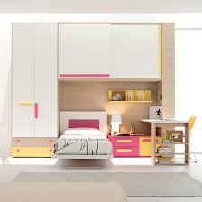 modern space saving bedroom furniture sets for kids displaying tall white painted wooden wardrobe with double end drawers and single beds under wall brilliant tall office chair