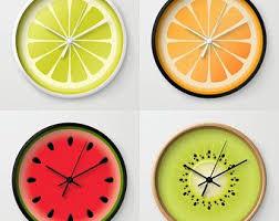 FRUIT <b>Wall Clock</b>, Kiwi Lime Lemon Orange Watermelon, Kitchen ...