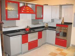 modular kitchen colors: gallery of modular kitchen design ideas with l shape kitchen and white red colors gloss kitchen cabinets also black marble countertop and built in stoves