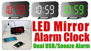 <b>LED Mirror Alarm Clock</b> With Time, Date, Year, Alarm, Temperature ...
