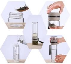 Online Shop Travel Drinkware Portable Double Wall Glass Tea ...