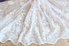 Lace Fabric Ivory Embroidery Cotton Flower <b>Both Sides</b> Wedding ...