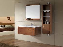 brown solid wooden bathroom vanity stand and cabinet attached on beige ceramic tiled wall mesmerizing brown bathroom furniture