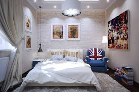 white shade bedroom lighting mixed with modern lighting design and brick wall also atractive large bedroom modern lighting