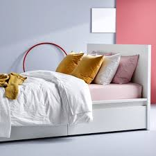 SLÄKT <b>Bed frame with slatted</b> bed base - white - IKEA