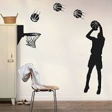 sun wall decal trendy designs: dnven diy vinyl basketball players shot silhouette with basketballs and basketry wall decals stickers for boy