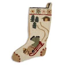cabin decor lodge sled:  red sled christmas stocking